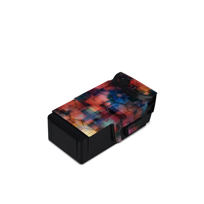 DJI Mavic Air Battery Skin design of Blue, Colorfulness, Pattern, Psychedelic art, Art, Sky, Design, Textile, Dye, Modern art with black, blue, red, gray, green colors