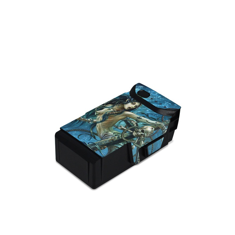 DJI Mavic Air Battery Skin design of Mermaid, Cg artwork, Illustration, Fictional character, Art, Mythology, Mythical creature, Graphic design with blue, green, white, black colors