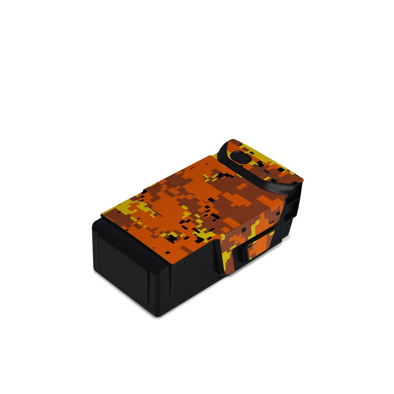 DJI Mavic Air Battery Skin design of Orange, Yellow, Leaf, Tree, Pattern, Autumn, Plant, Deciduous with red, green, black colors