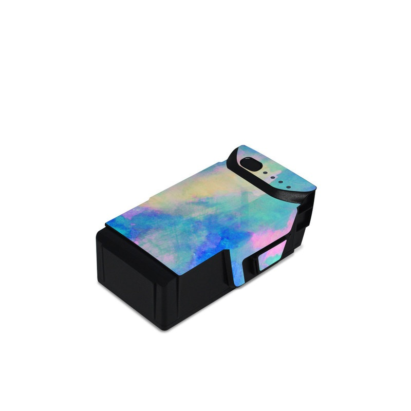 DJI Mavic Air Battery Skin design of Blue, Turquoise, Aqua, Pattern, Dye, Design, Sky, Electric blue, Art, Watercolor paint with blue, purple colors