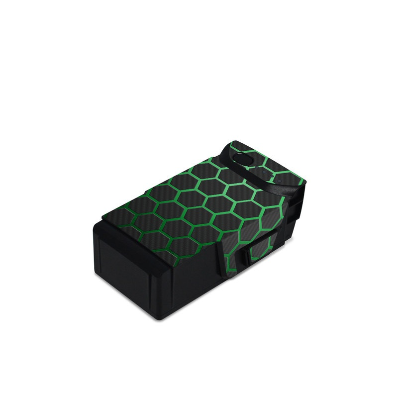 DJI Mavic Air Battery Skin design of Pattern, Metal, Design, Carbon, Space, Circle with black, gray, green colors