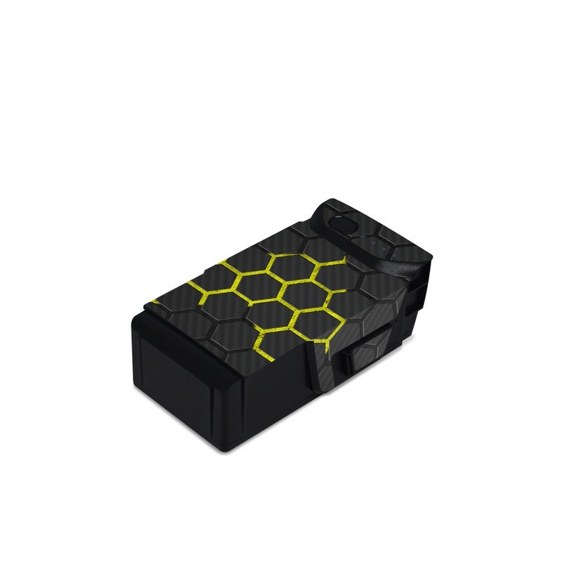 DJI Mavic Air Battery Skin design of Black, Pattern, Yellow, Mesh, Net, Chain-link fencing, Design, Metal with black, gray, yellow colors