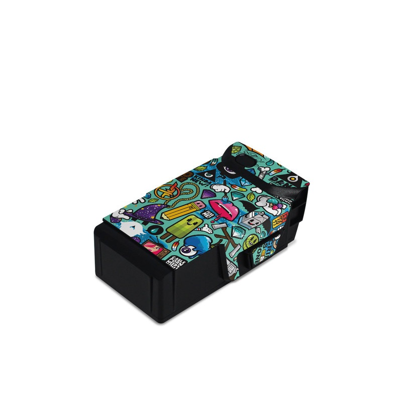 DJI Mavic Air Battery Skin design of Cartoon, Art, Pattern, Design, Illustration, Visual arts, Doodle, Psychedelic art with black, blue, gray, red, green colors