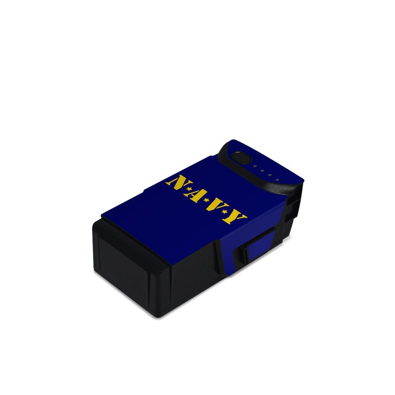 DJI Mavic Air Battery Skin design of Text, Font, Blue, Yellow, Electric blue, Logo, Brand, Graphics, Graphic design with black, orange, green colors