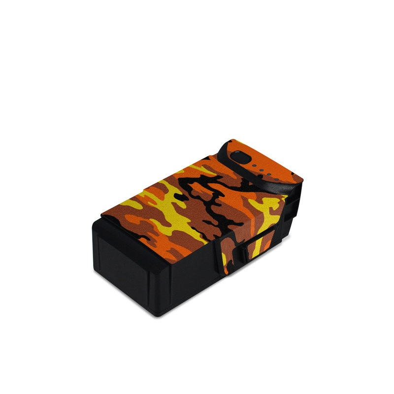 DJI Mavic Air Battery Skin design of Military camouflage, Orange, Pattern, Camouflage, Yellow, Brown, Uniform, Design, Tree, Wildlife with red, green, black colors