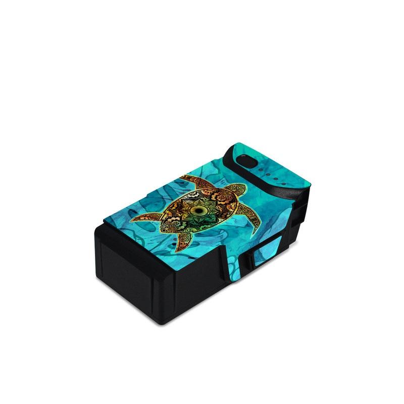 DJI Mavic Air Battery Skin design of Sea turtle, Green sea turtle, Turtle, Hawksbill sea turtle, Tortoise, Reptile, Loggerhead sea turtle, Illustration, Art, Pattern with blue, black, green, gray, red colors