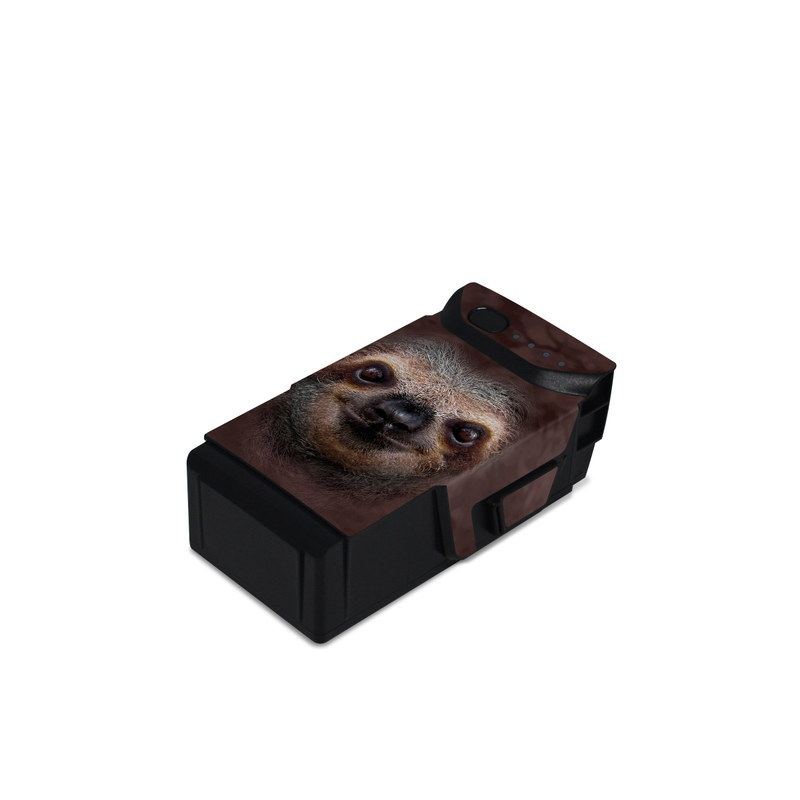DJI Mavic Air Battery Skin design of Three-toed sloth, Sloth, Snout, Head, Close-up, Nose, Two-toed sloth, Terrestrial animal, Eye, Whiskers with black, gray, red, green colors