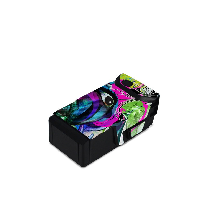 DJI Mavic Air Battery Skin design of Graphic design, Psychedelic art, Art, Illustration, Purple, Visual arts, Graffiti, Street art, Design, Painting with gray, black, blue, green, purple colors