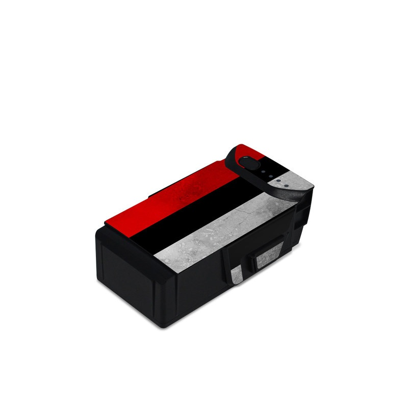 DJI Mavic Air Battery Skin design of Flag, Flag of the united states, Text, Line, Font, Parallel, Pattern, Graphics with black, white, gray, red colors