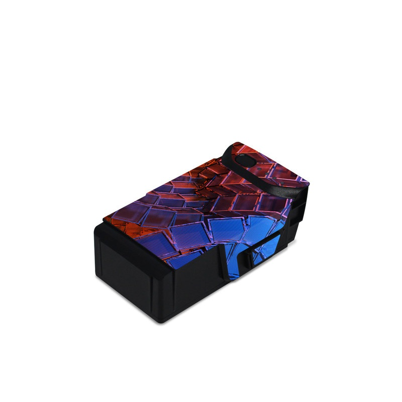 DJI Mavic Air Battery Skin design of Blue, Red, Orange, Light, Pattern, Architecture, Design, Fractal art, Colorfulness, Psychedelic art with black, red, blue, purple, gray colors