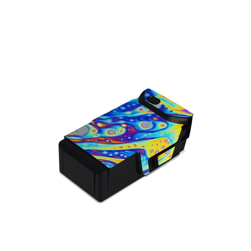 DJI Mavic Air Battery Skin design of Psychedelic art, Blue, Pattern, Art, Visual arts, Water, Organism, Colorfulness, Design, Textile with gray, blue, orange, purple, green colors
