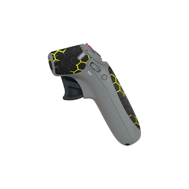 DJI Motion Controller Skin design of Black, Pattern, Yellow, Mesh, Net, Chain-link fencing, Design, Metal with black, gray, yellow colors