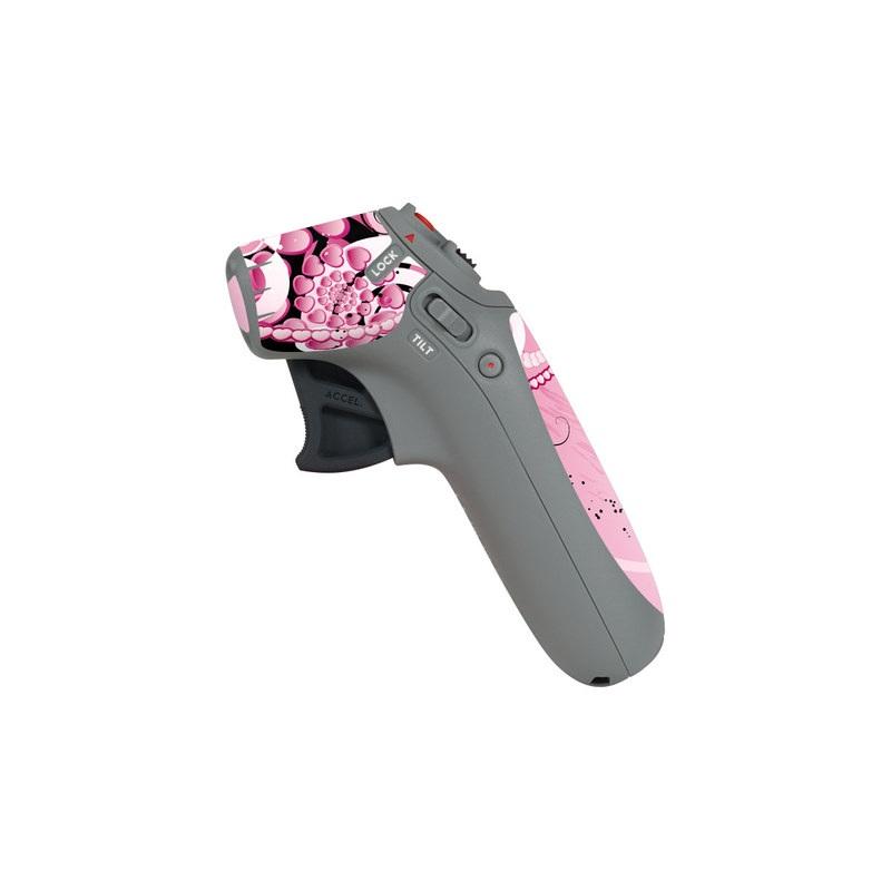 DJI Motion Controller Skin design of Pink, Floral design, Graphic design, Text, Design, Flower Arranging, Pattern, Illustration, Flower, Floristry with pink, gray, black, white, purple, red colors