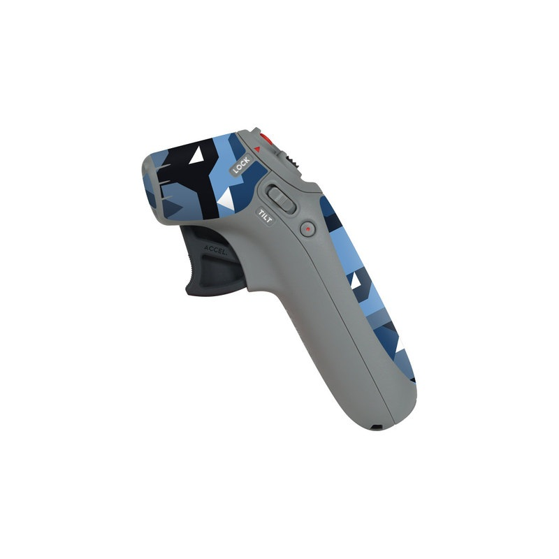 DJI Motion Controller Skin design of Blue, Pattern, Design, Font, Line, Camouflage, Illustration, Triangle with blue, black, white, gray colors