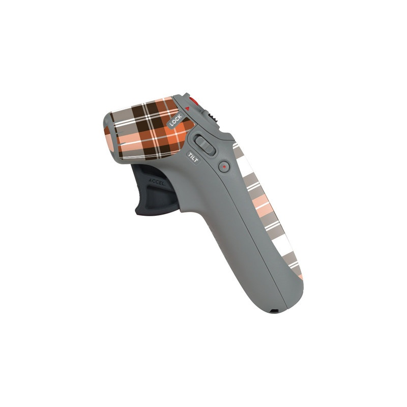 DJI Motion Controller Skin design of Plaid, Pattern, Tartan, Orange, Brown, Textile, Line, Design, Tints and shades with gray, black, red, white, pink, green colors