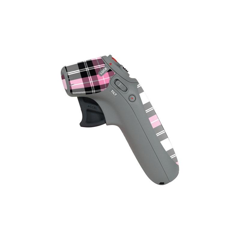 DJI Motion Controller Skin design of Plaid, Tartan, Pattern, Pink, Purple, Violet, Line, Textile, Magenta, Design with black, gray, pink, red, white, purple colors