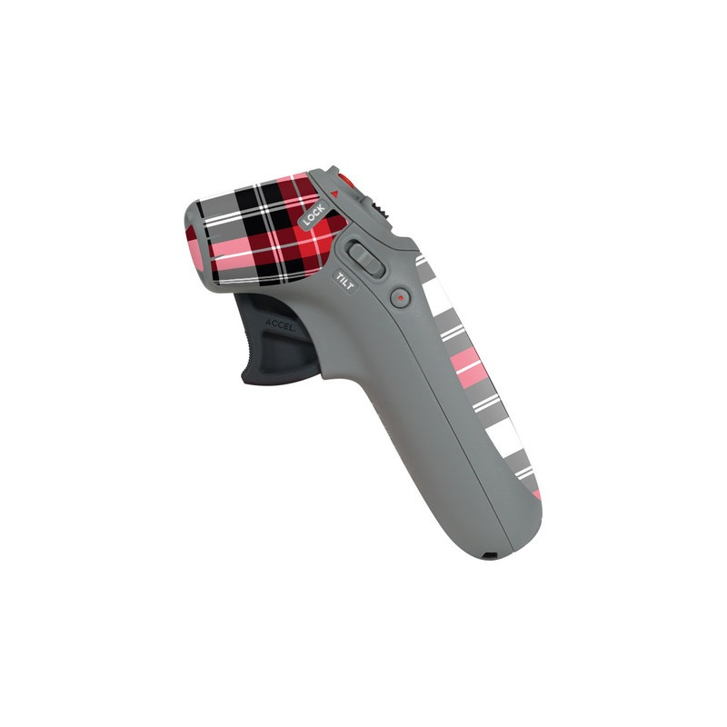 DJI Motion Controller Skin design of Plaid, Tartan, Pattern, Red, Textile, Design, Line, Pink, Magenta, Square with black, gray, pink, red, white colors