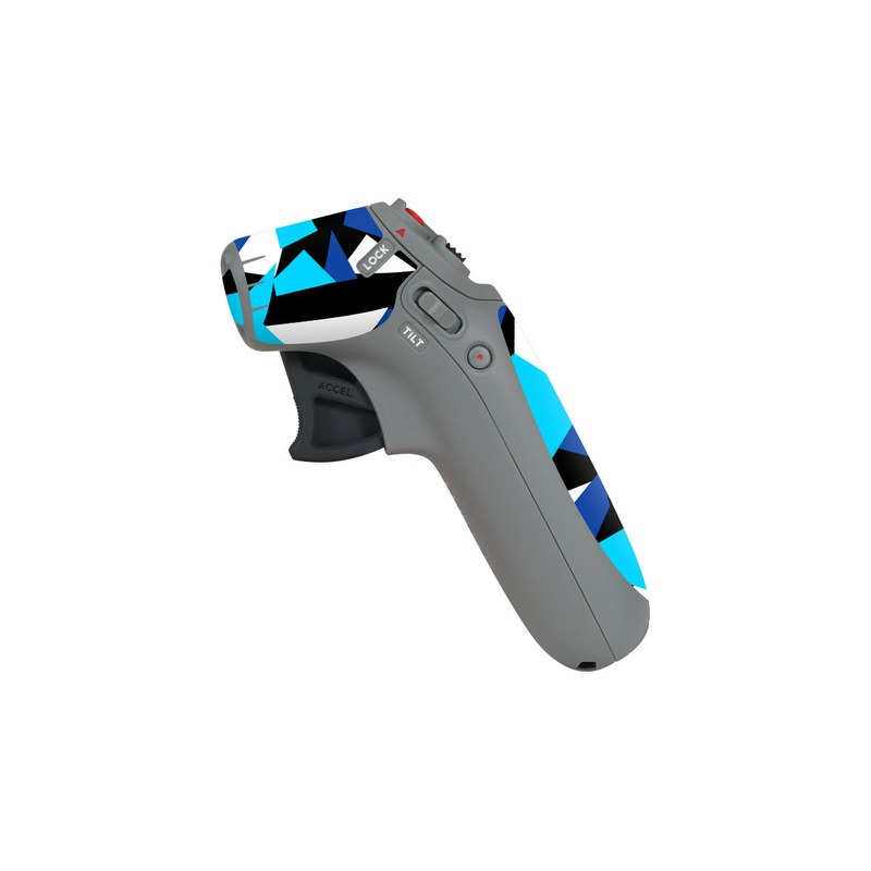 DJI Motion Controller Skin design of Blue, Pattern, Turquoise, Cobalt blue, Teal, Design, Electric blue, Graphic design, Triangle, Font with blue, white, black colors