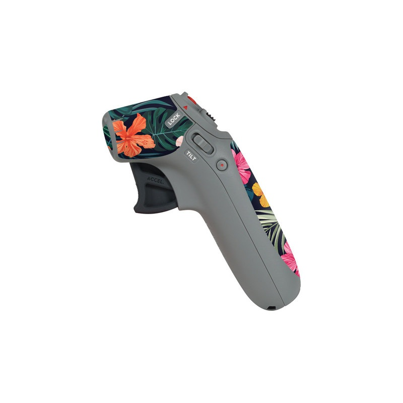 DJI Motion Controller Skin design of Hawaiian hibiscus, Flower, Pattern, Plant, Leaf, Floral design, Botany, Design, Hibiscus, Petal with black, green, red, pink, orange, yellow, white colors