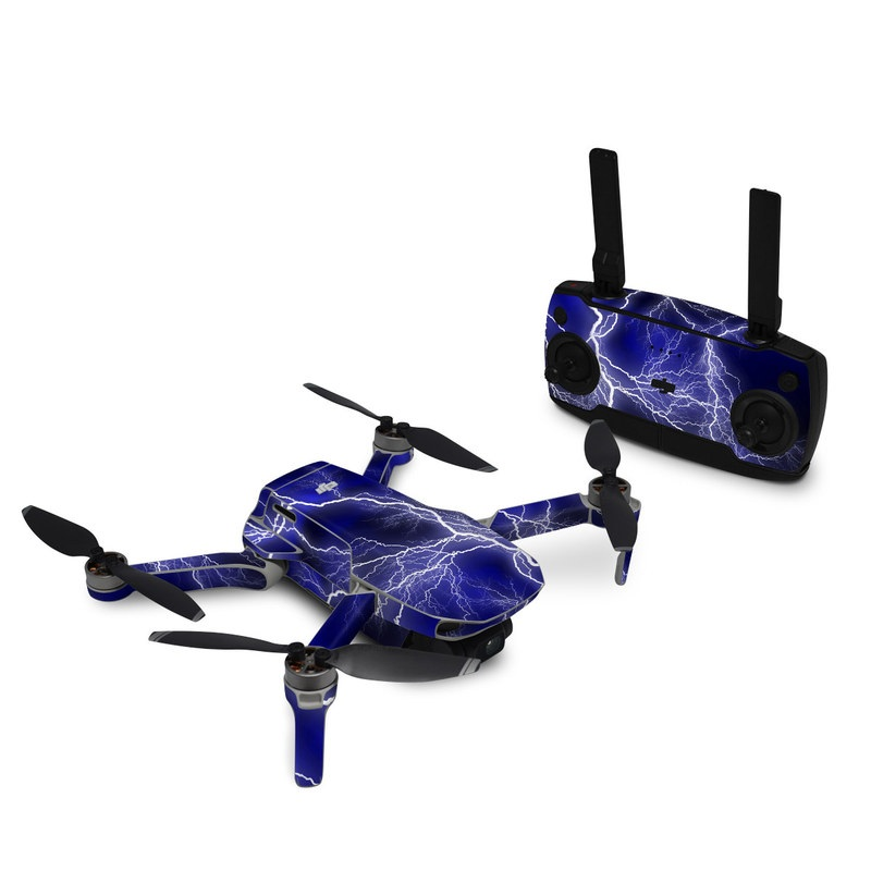 DJI Mavic Mini Skin design of Thunder, Lightning, Thunderstorm, Sky, Nature, Electric blue, Atmosphere, Daytime, Blue, Atmospheric phenomenon with blue, black, white colors