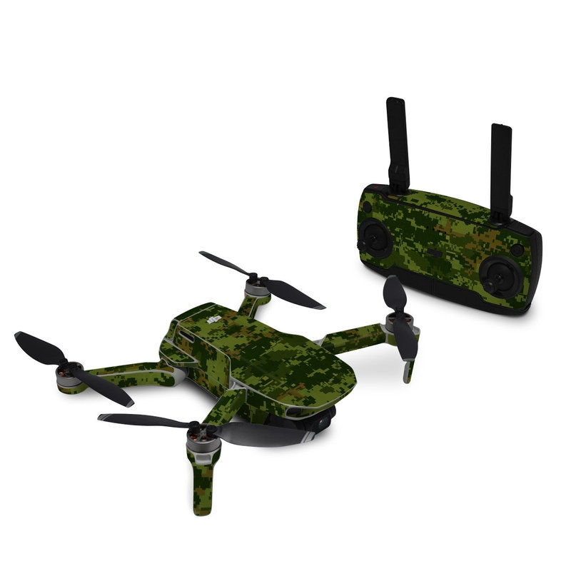 DJI Mavic Mini Skin design of Military camouflage, Green, Pattern, Uniform, Camouflage, Clothing, Design, Leaf, Plant with green, brown colors