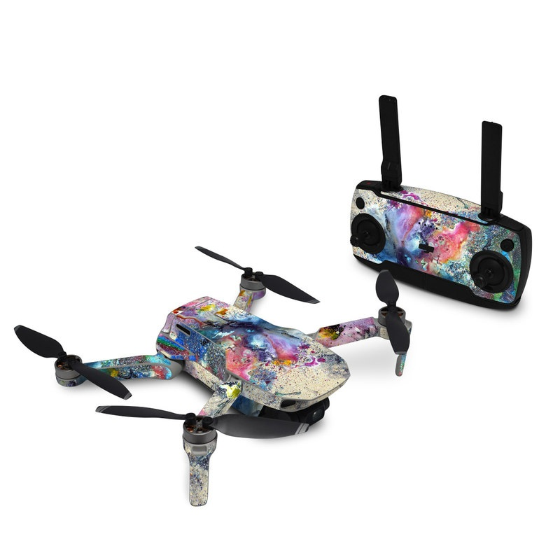 DJI Mavic Mini Skin design of Watercolor paint, Painting, Acrylic paint, Art, Modern art, Paint, Visual arts, Space, Colorfulness, Illustration with gray, black, blue, red, pink colors