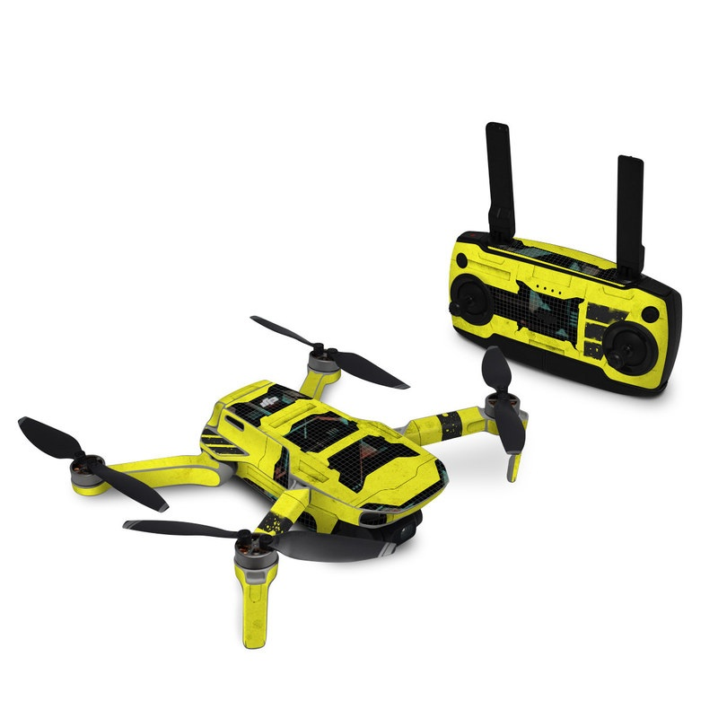 DJI Mavic Mini Skin design of Yellow, Green, Font, Pattern, Graphic design with black, yellow, gray, blue, green colors