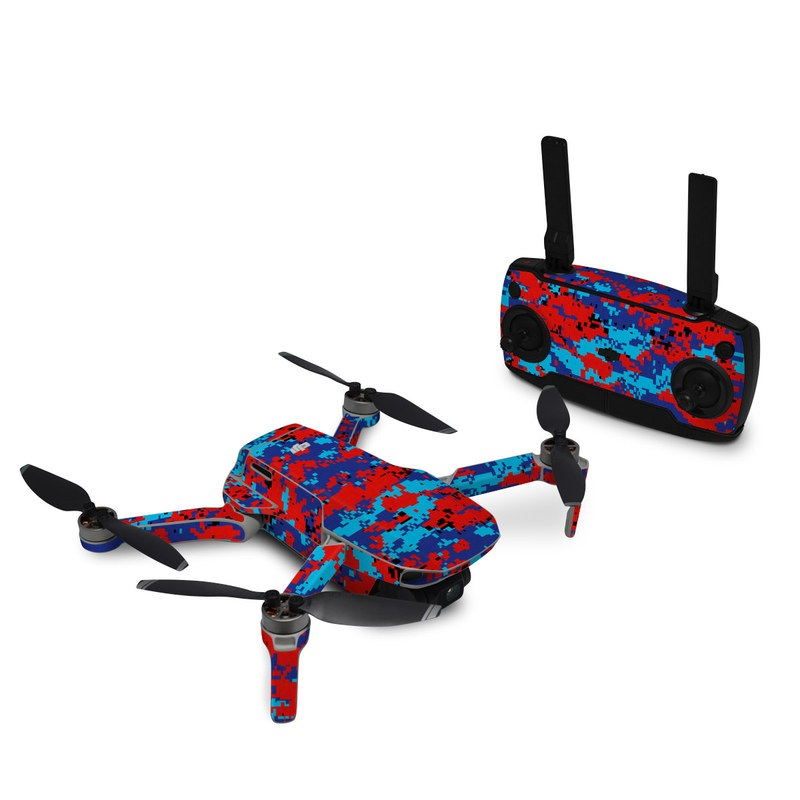 DJI Mavic Mini Skin design of Blue, Red, Pattern, Textile, Electric blue with blue, red colors