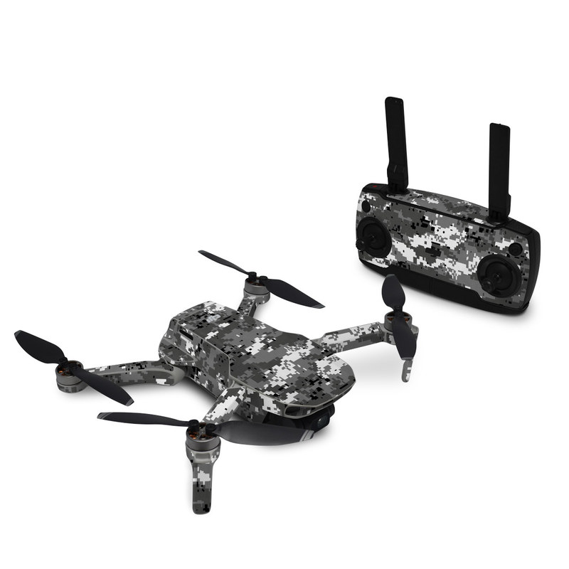 DJI Mavic Mini Skin design of Military camouflage, Pattern, Camouflage, Design, Uniform, Metal, Black-and-white with black, gray colors