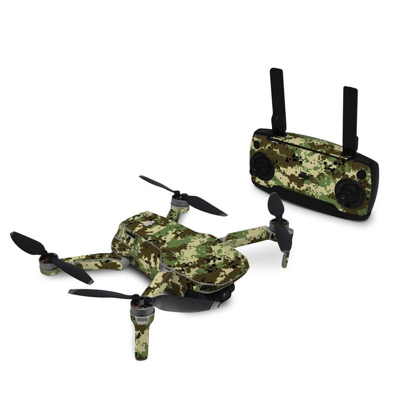 DJI Mavic Mini Skin design of Military camouflage, Pattern, Camouflage, Green, Uniform, Clothing, Design, Military uniform with black, gray, green colors