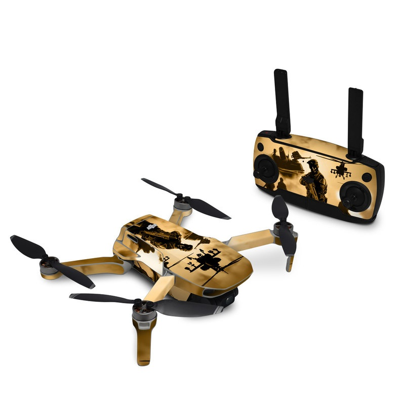 DJI Mavic Mini Skin design of Soldier, Army men, Military organization, Infantry, Army, Military, Military person, Military uniform, Marines, Military officer with green, black, pink, red, gray, yellow colors
