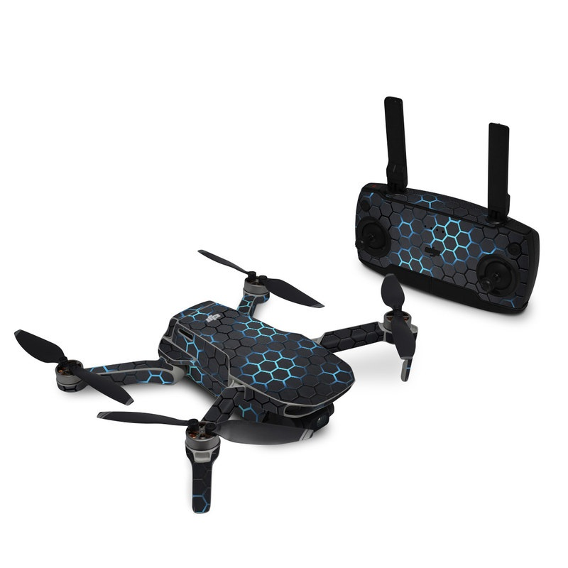 DJI Mavic Mini Skin design of Pattern, Water, Design, Circle, Metal, Mesh, Sphere, Symmetry with black, gray, blue colors