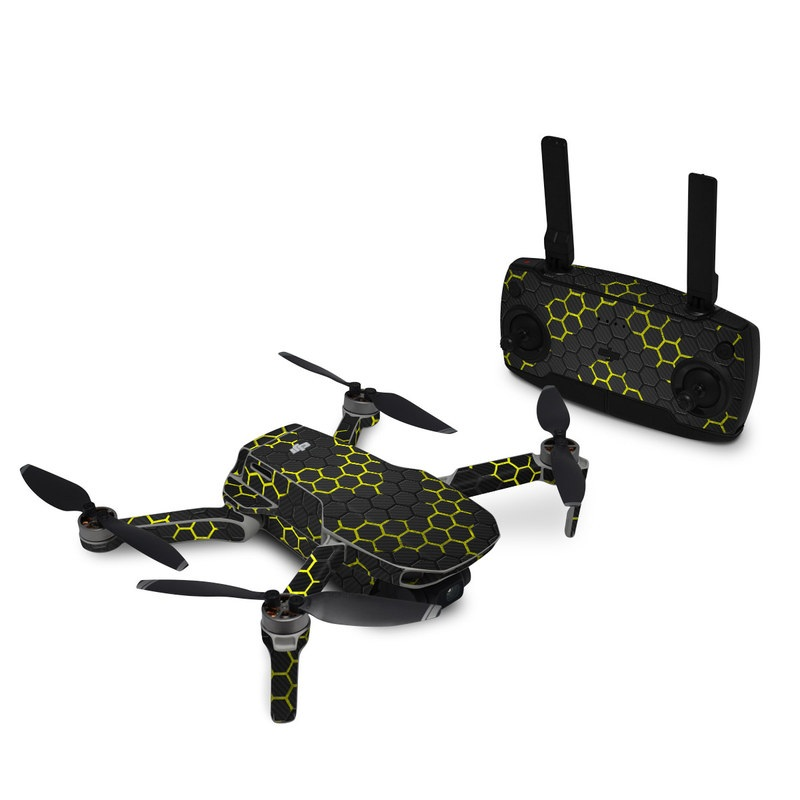 DJI Mavic Mini Skin design of Black, Pattern, Yellow, Mesh, Net, Chain-link fencing, Design, Metal with black, gray, yellow colors