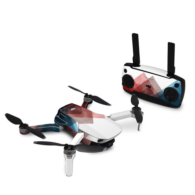 DJI Mavic Mini Skin design of Blue, Red, Sky, Pink, Line, Architecture, Font, Graphic design, Colorfulness, Illustration with red, pink, blue colors