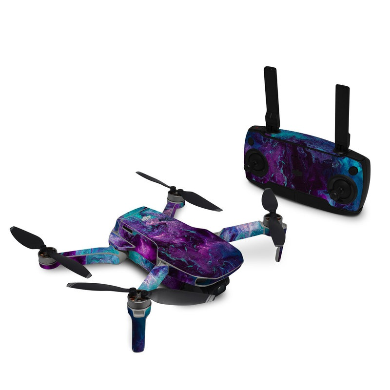 DJI Mavic Mini Skin design of Blue, Purple, Violet, Water, Turquoise, Aqua, Pink, Magenta, Teal, Electric blue with blue, purple, black colors