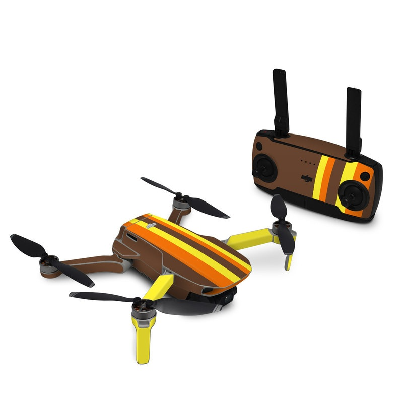 DJI Mavic Mini Skin design of Orange, Yellow, Line, Brown, Font, Material property, Graphic design, Pattern, Parallel with brown, orange, yellow colors