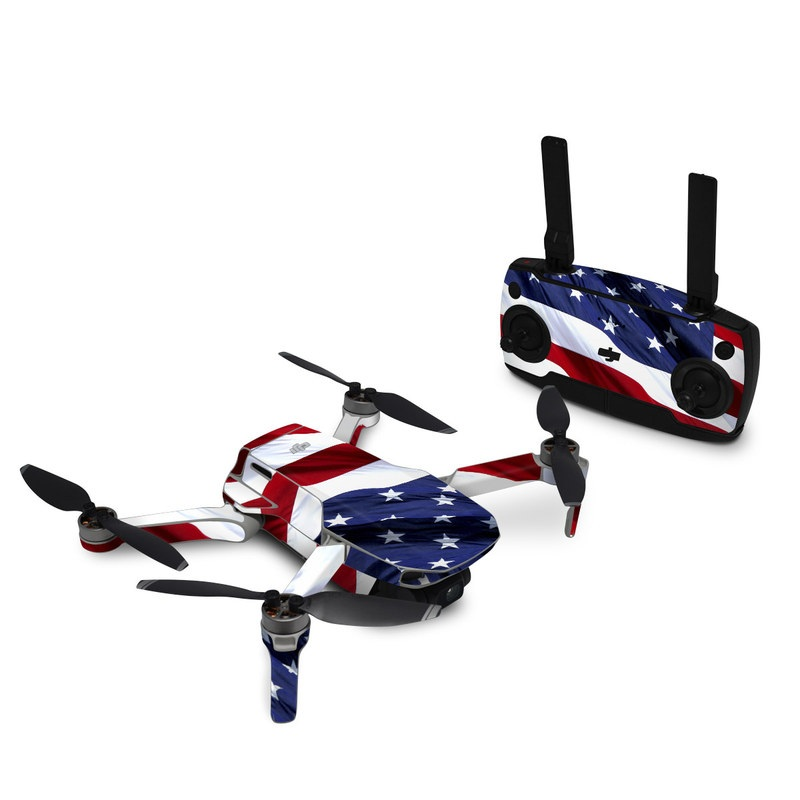 DJI Mavic Mini Skin design of Flag, Flag of the united states, Flag Day (USA), Veterans day, Memorial day, Holiday, Independence day, Event with red, blue, white colors