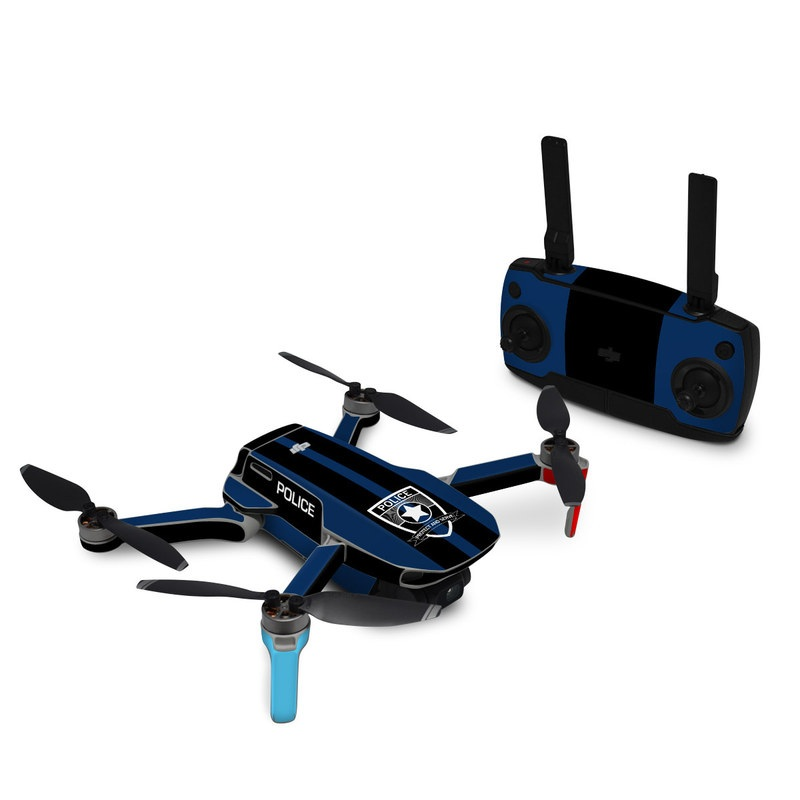 DJI Mavic Mini Skin design with black, white, blue, red colors