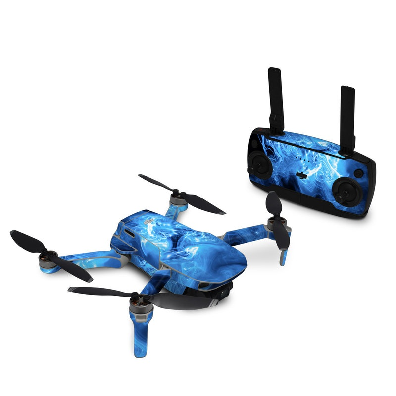 DJI Mavic Mini Skin design of Blue, Water, Electric blue, Organism, Pattern, Smoke, Liquid, Art with blue, black, purple colors