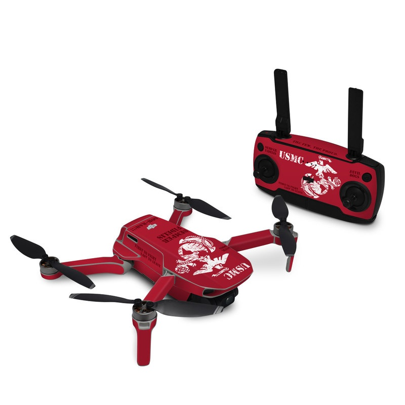 DJI Mavic Mini Skin design of Font, Text, Logo, T-shirt, Poster, Graphics, Brand, Banner with red, gray, white, black, pink colors