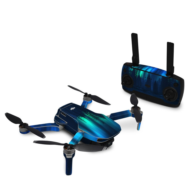 DJI Mavic Mini Skin design of Blue, Light, Natural environment, Tree, Sky, Forest, Darkness, Aurora, Night, Electric blue with black, blue colors