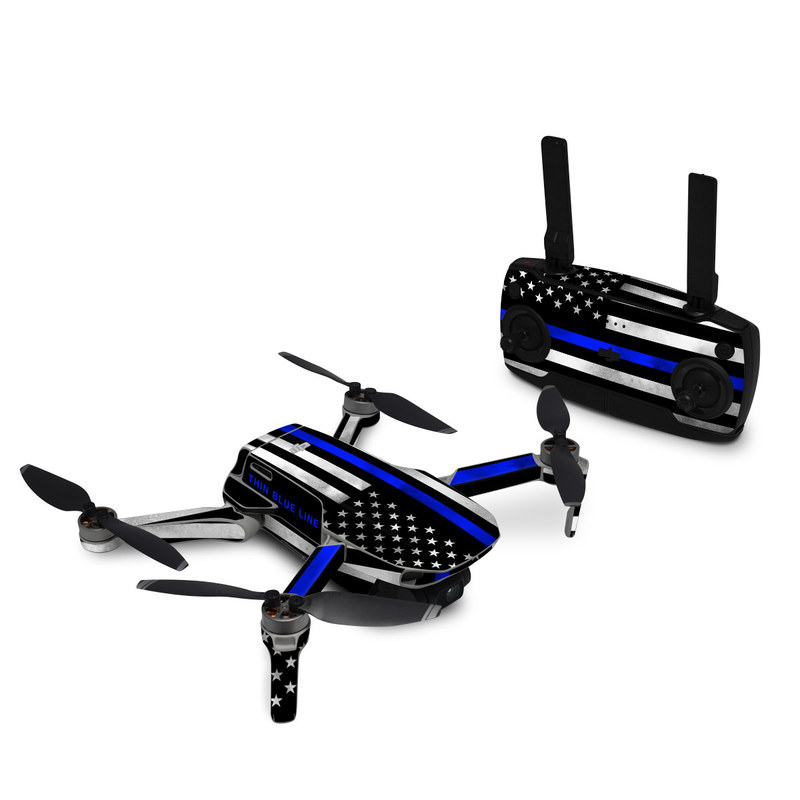 DJI Mavic Mini Skin design of Line, Flag, Text, Flag of the united states, Font, Parallel, Symmetry, Black-and-white, Pattern, Graphics with black, white, gray, blue colors