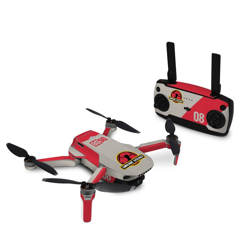 DJI Mavic Mini Skin design with red, gray, black, white, yellow colors