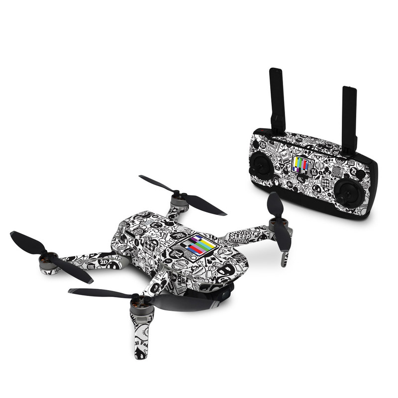 DJI Mavic Mini Skin design of Pattern, Drawing, Doodle, Design, Visual arts, Font, Black-and-white, Monochrome, Illustration, Art with gray, black, white colors