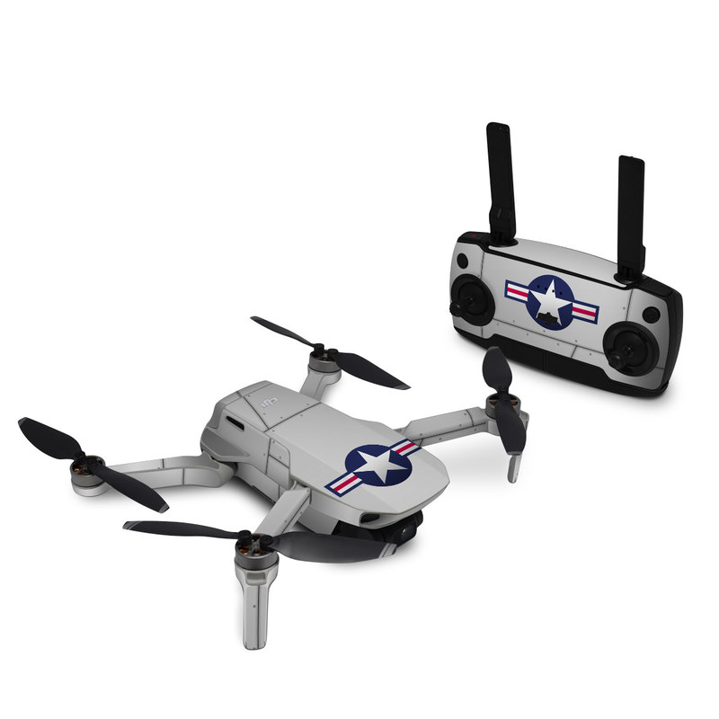 DJI Mavic Mini Skin design of Logo, Flag, Emblem, Graphics, Symbol, Symmetry with gray, black colors