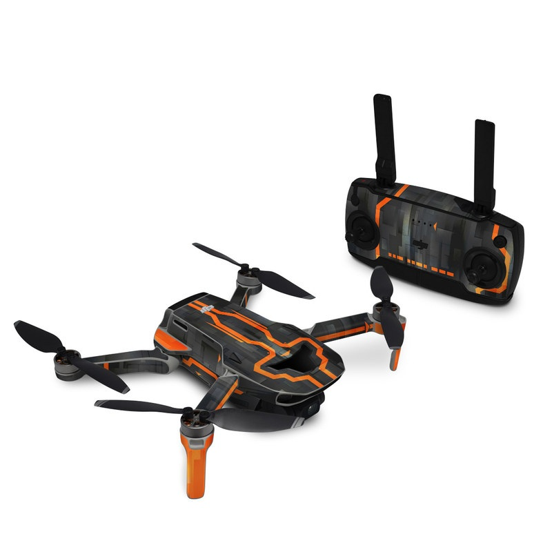 DJI Mavic Mini Skin design with black, gray, orange colors