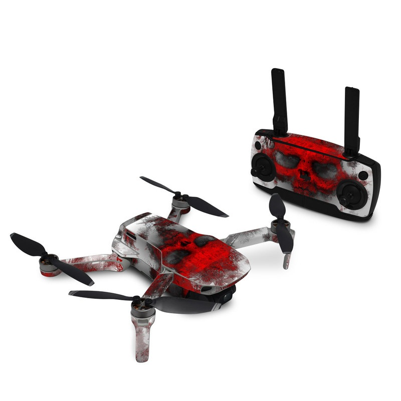 DJI Mavic Mini Skin design of Red, Graphic design, Skull, Illustration, Bone, Graphics, Art, Fictional character with red, gray, black, white colors