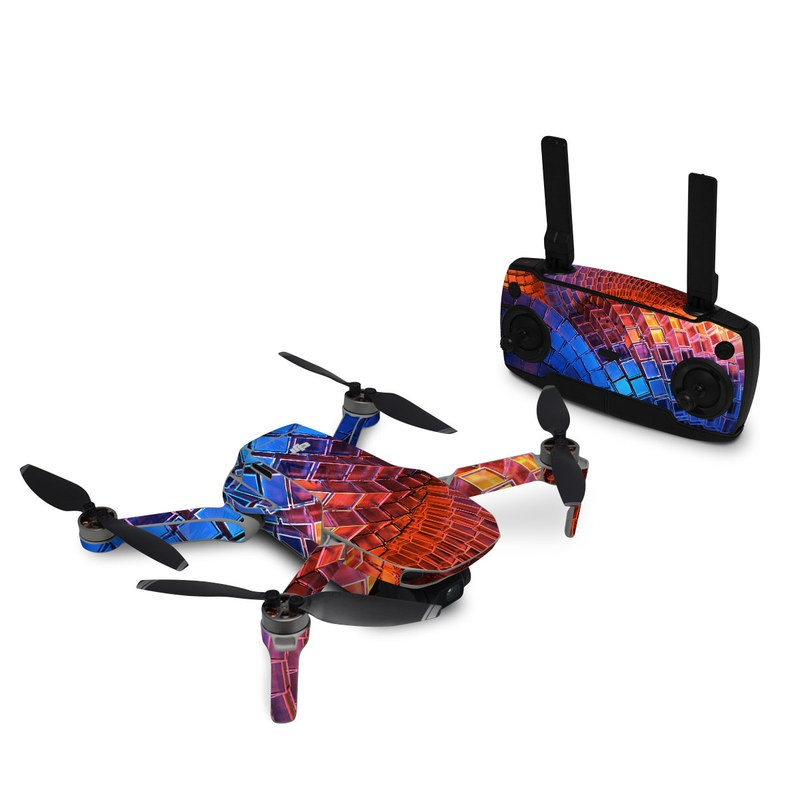 DJI Mavic Mini Skin design of Blue, Red, Orange, Light, Pattern, Architecture, Design, Fractal art, Colorfulness, Psychedelic art with black, red, blue, purple, gray colors