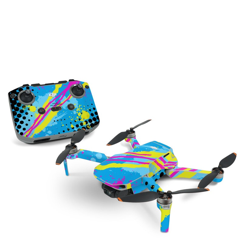 DJI Mini 2 Skin design of Blue, Colorfulness, Graphic design, Pattern, Water, Line, Design, Graphics, Illustration, Visual arts with blue, black, yellow, pink colors