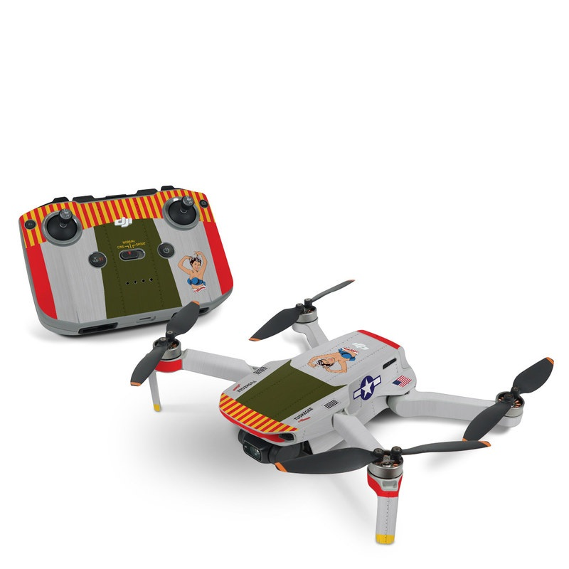 DJI Mini 2 Skin design of Product, Textile, Font, Rectangle, Art, Pattern, Illustration, Graphics, Logo, Design with gray, red, yellow, green, blue, white, blue, black colors